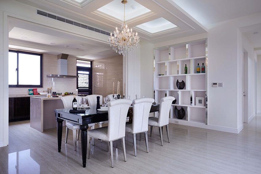 餐廳、廚房皆採開放式設計,與客廳合為一體,讓整體空間視覺更顯寬敞。室內設計,室內裝潢,裝潢,裝修,桃園室內設計,中壢室內設計,雅和室內設計,雅和設計
