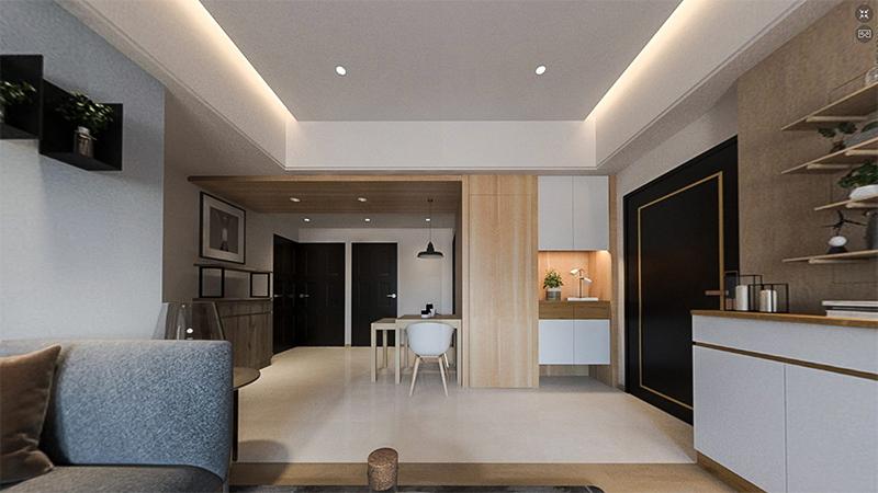 3D,720VR,北歐風-工業風-北歐輕工業風-開放式客餐廳-客廳-木作-天花板-系統櫃-油漆-地板-室內設計,室內裝潢,桃園室內設計,中壢室內設計,雅和室內設計