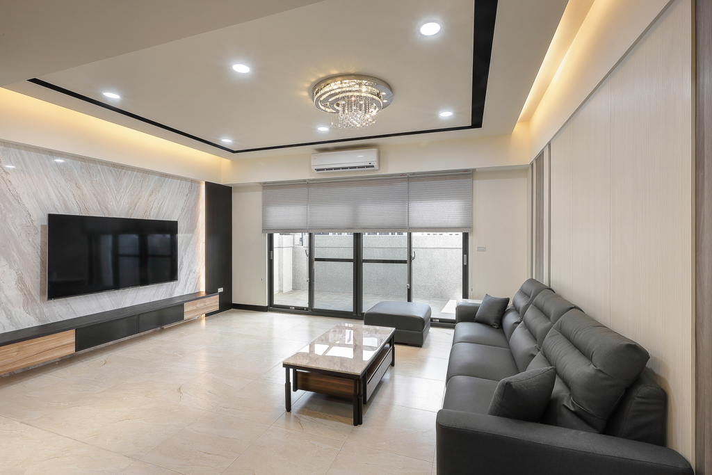 客廳:銀狐大理石電視牆\現代簡約富雅雍華之邸\桃園八德室內設計