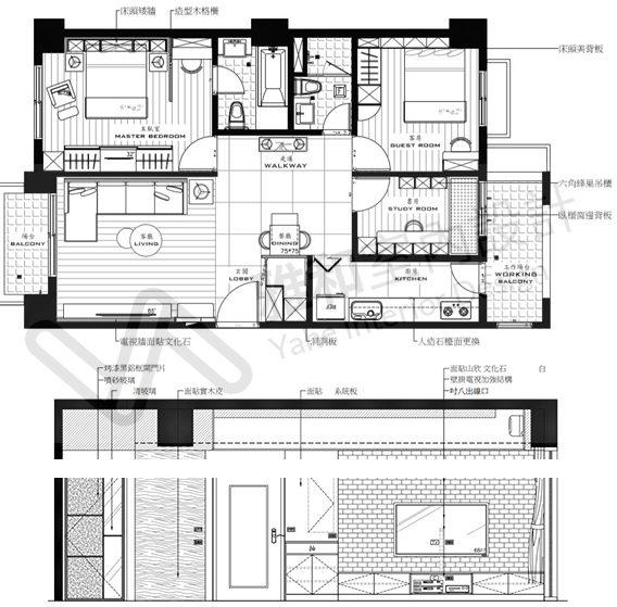 平面圖-立面圖-室內設計,室內裝潢,桃園室內設計,中壢室內設計,雅和室內設計